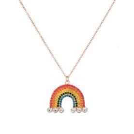 Rainbow Diamante Long Necklace