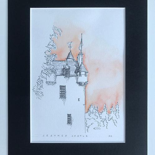Crathes Castle Pen & Watercolour Print