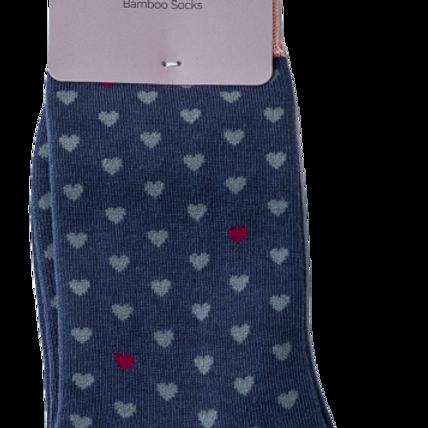 Navy Little Hearts Bamboo Socks