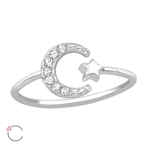 925 Sterling Silver Moon and Star Crystal Ring