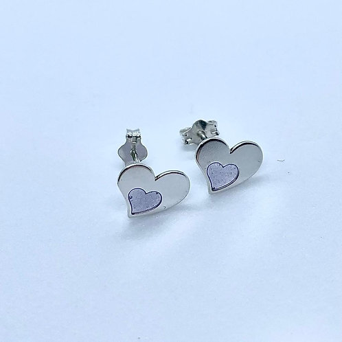 Sterling Silver Lilac Resin Heart Studs