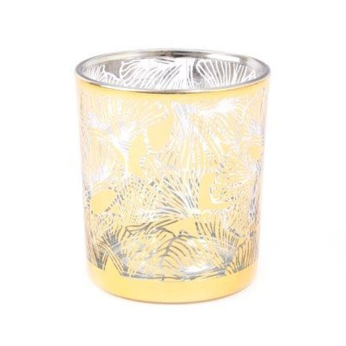 Gold Lotus Flower Glass Candle Holder