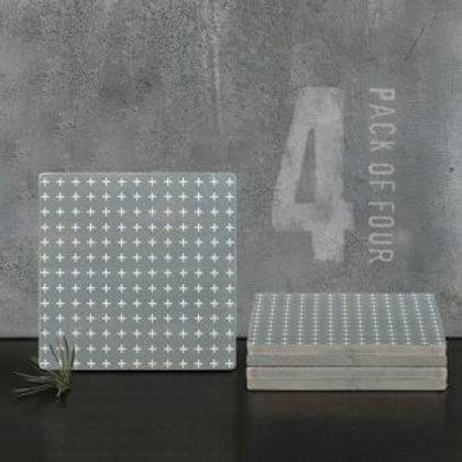 Set of 4 Wooden Coasters - Grey Geometric