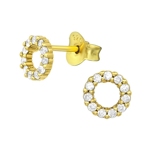 Gold Plated Circle Cubic Zirconia Stud Earrings