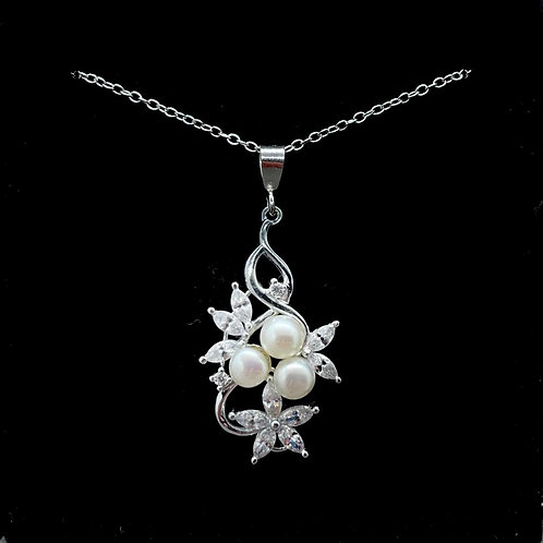 Sterling Silver Pearl and CZ Floral Pendant