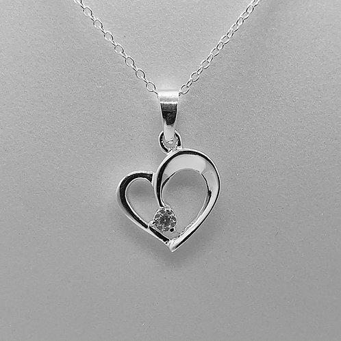 Sterling Silver CZ Heart Pendant Necklace