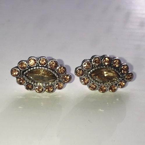 Gold Oval Crystal & Gem Stud Earrings