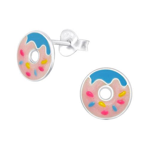 925 Sterling Silver Doughnut Stud Earrings