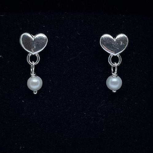 Sterling Silver Heart & Pearl Drop Earrings