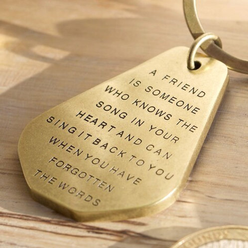 'A Friend Is Someone' Brass Keyring