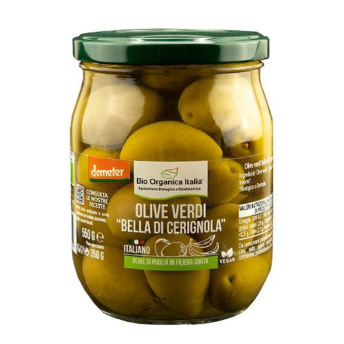 """Green Olives """"Bella Di Cerignola"""" in Brine 550g Bio Organica Italia"""
