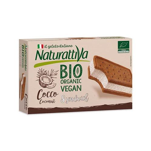Coconut Ice Cream Sandwich 8x40g Naturattiva