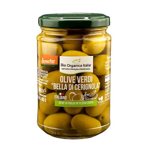 """Green Olives """"Bella Di Cerignola"""" in Brine 280g Bio Organica Italia"""
