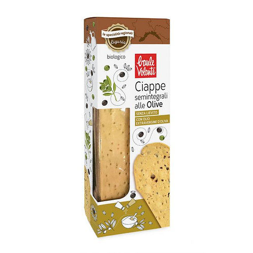 Semi Wholemeal Wheat Ciappe with Olives 150g Baule Volante