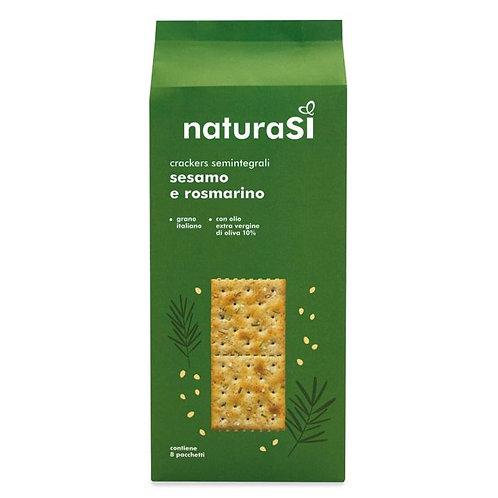Semi-Wholemeal Wheat Crackers with Sesame & Rosemary 250g NaturaSi