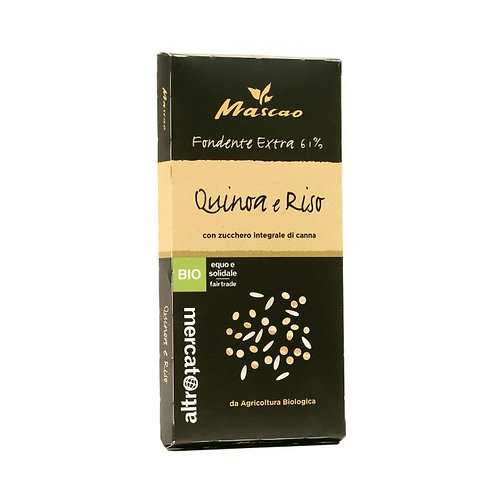 Extra Dark Mascao Chocolate with Quinoa & Rice Crispies 100g