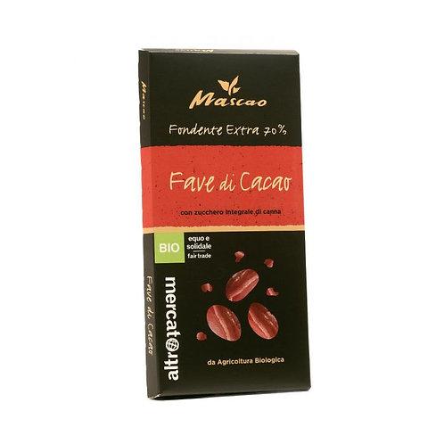 70% Extra Dark Mascao Chocolate with Cocoa Beans 100g Altromercato