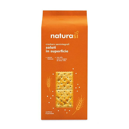 Semi-Wholemeal Wheat Salted Crackers with Extra Virgin Olive Oil NaturaSi 250g