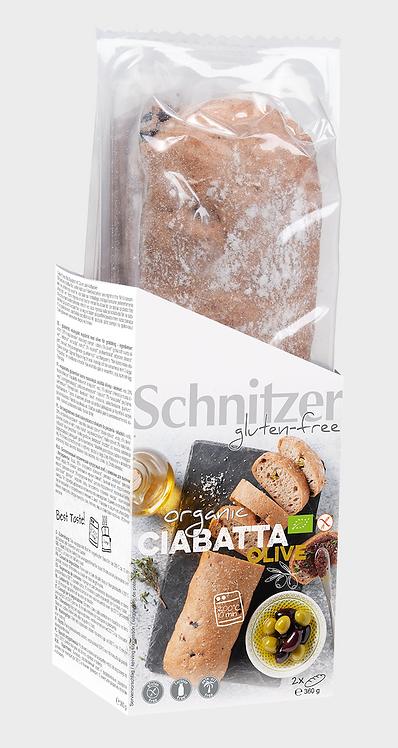 Gluten-Free Corn Ciabatta with Olives 360g Schnitzer