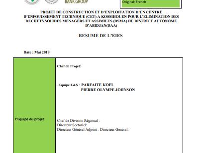 PROJET DE CONSTRUCTION ET D'EXPLOITATION D'UN CENTRE D'ENFOUISSEMENT TECHNIQUE (CET)