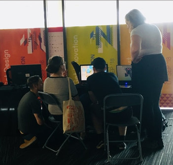 Talking to players at GEOTN 2018