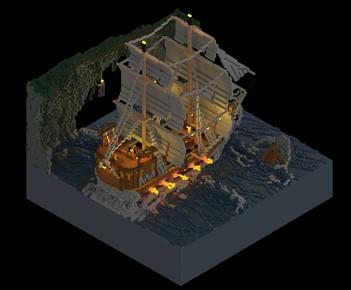 Voxel Ship - Night