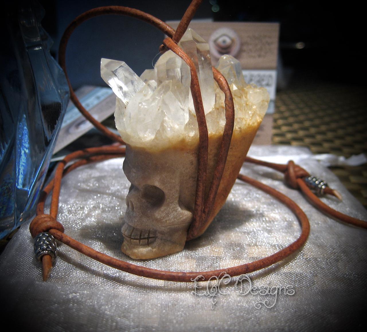 EGC Quartz Skull Leather Necklace (2)