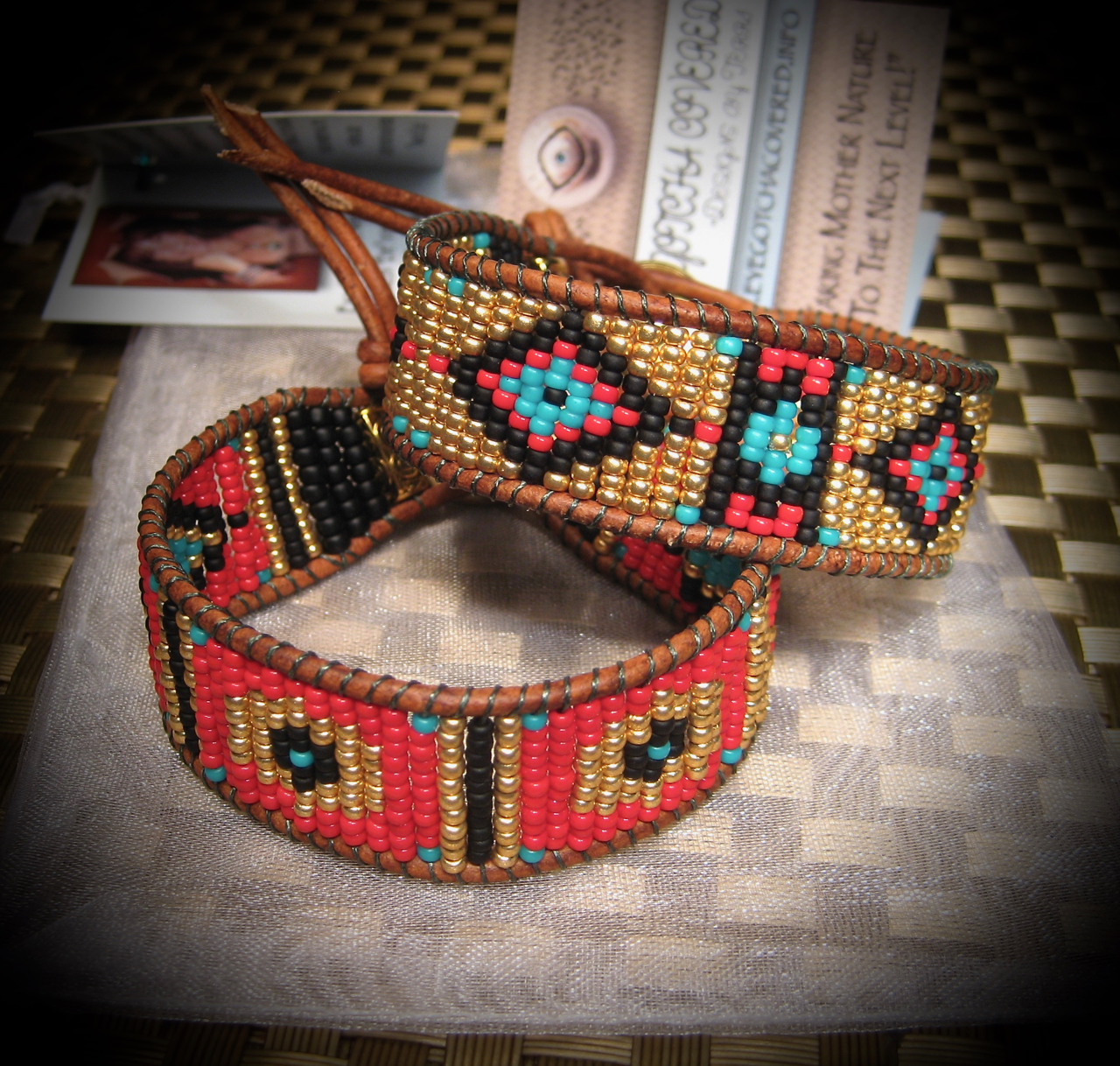 Gold Seed Beaded Leather Bracelet (1)