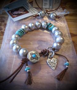 Silver Gray Pearl Turquoise Wrap Bracele