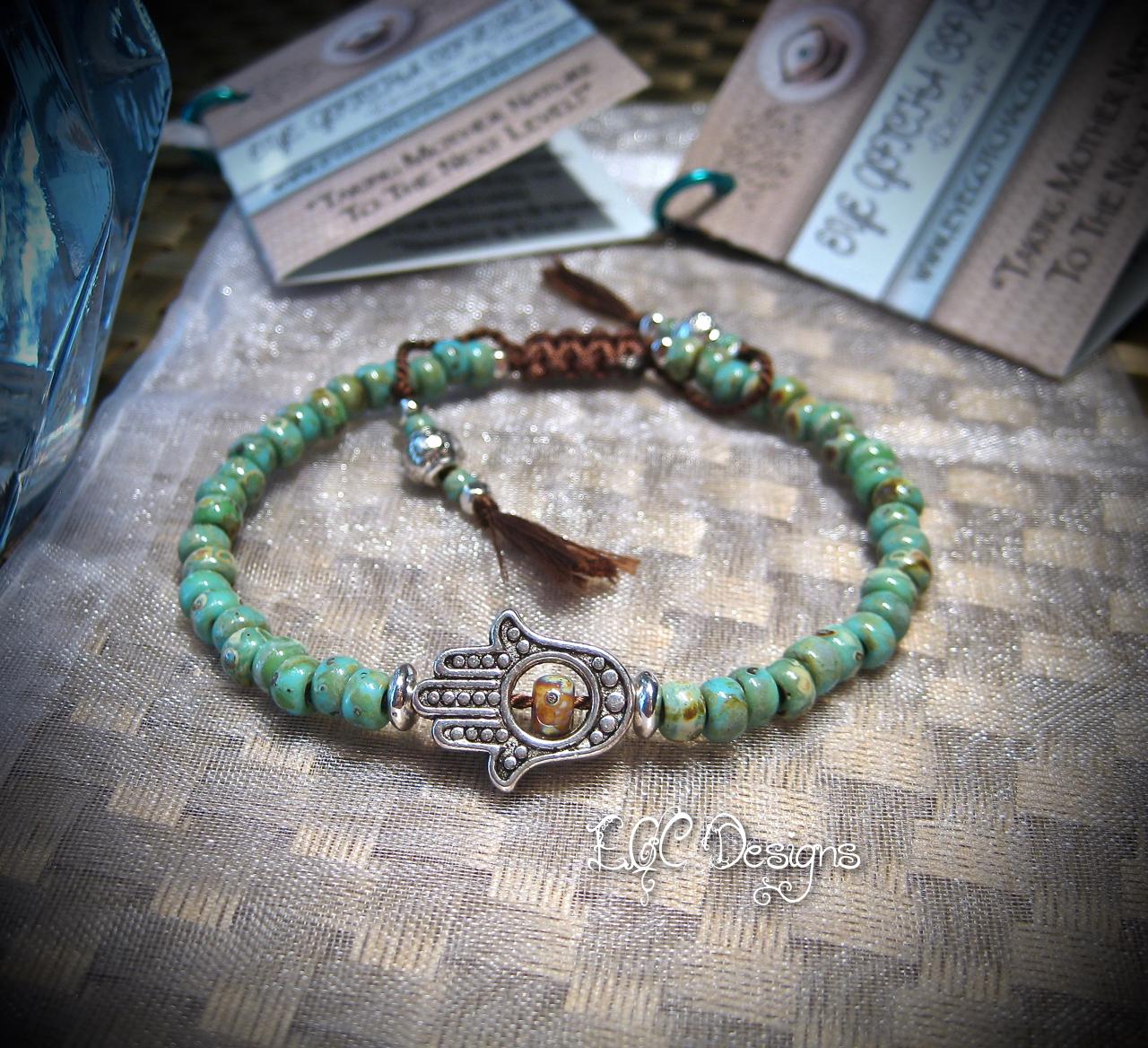 EGC Turquoise Hamsa Shambala Bracelet