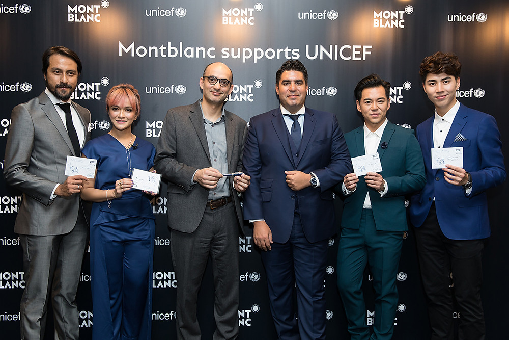 Film director and actor Bront Palarae, actress Sazzy Falak, TV producer Desmond Tey, and music composer, violinist Uriah See joined the UNICEF Malaysia Deputy Representative and UNICEF Malaysia Senior Social Policy Specialist Dr. Amjad Rabi and Montblanc South East Asia Managing Director Anouar Guerraoui at the unveiling of Montblanc for UNICEF collection in Kuala Lumpur