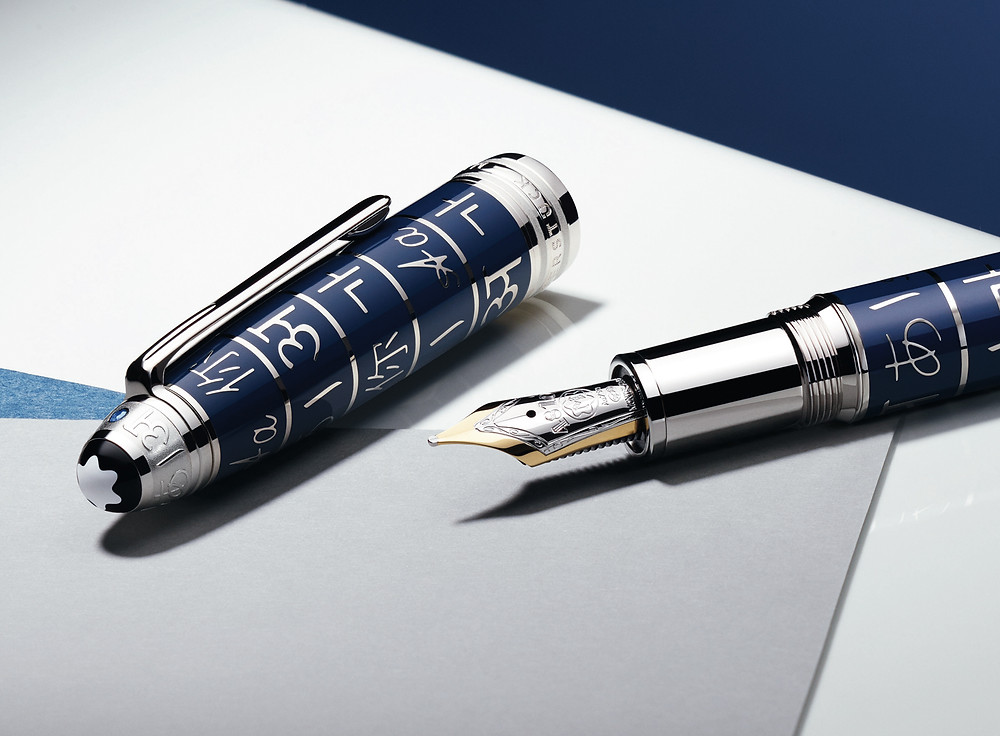 Montblanc Meisterstück Writing Is A Gift Blue Solitaire Edition Fountain Pen