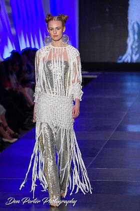 Fringe Knit dress/ Gold Jumpsuit