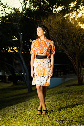 Orange lace top w/ Tiered Skirt