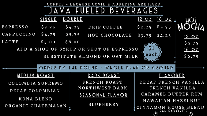 2020 Menu Board 2 - Java & More - Summer