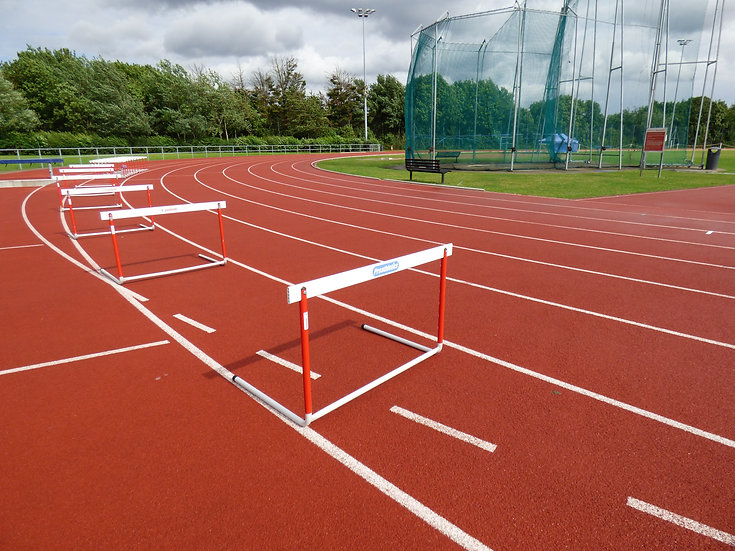 Image of hurdles on outdoor athletics track