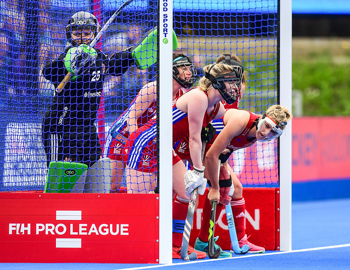 Great Britain Womens Hockey team in goal