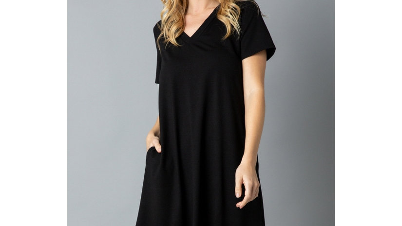 Solid Short Sleeve V Neck Midi Dress