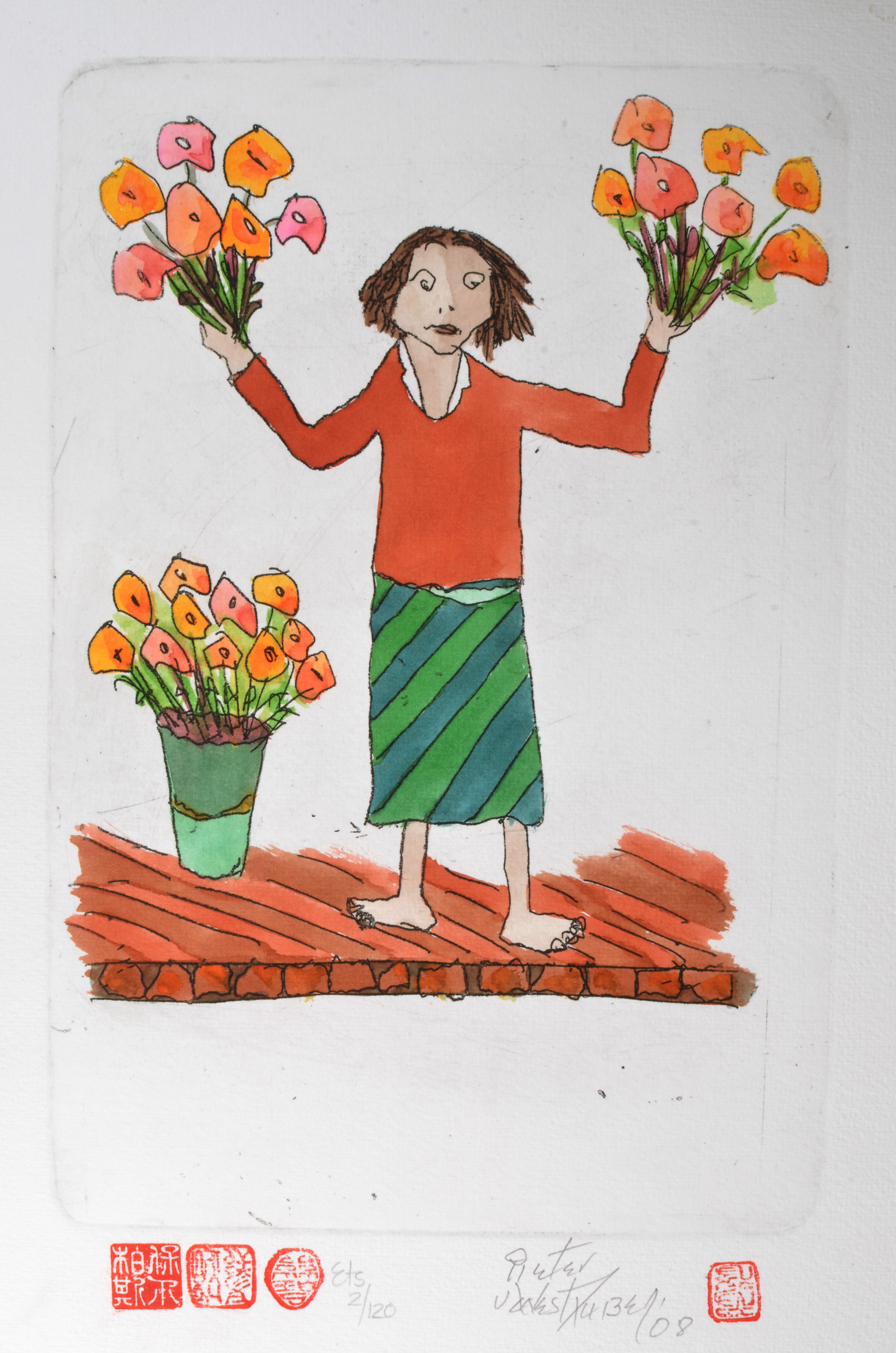 #304 Flowerseller- Red