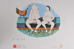 #359 Nude Couple on a Bench