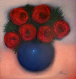 #214 Red Roses Bue Bowl