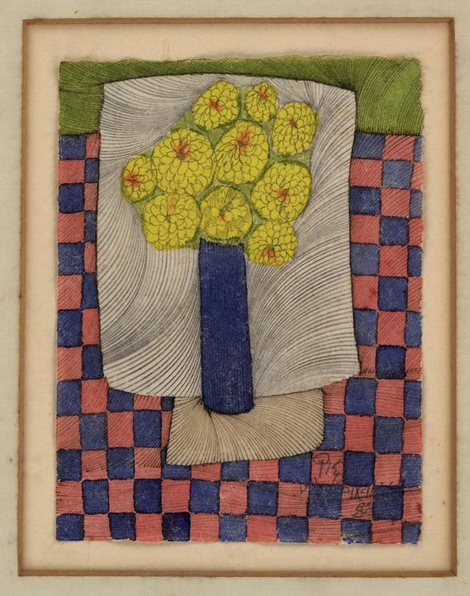 #226 Blue Vase Yellow Flowers