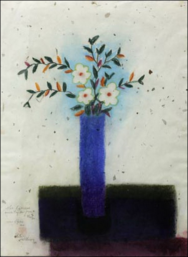 #208 Blue Vase with White Flowers