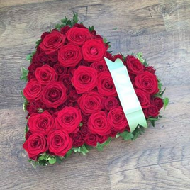 Funeral Heart Based with Large Red Roses
