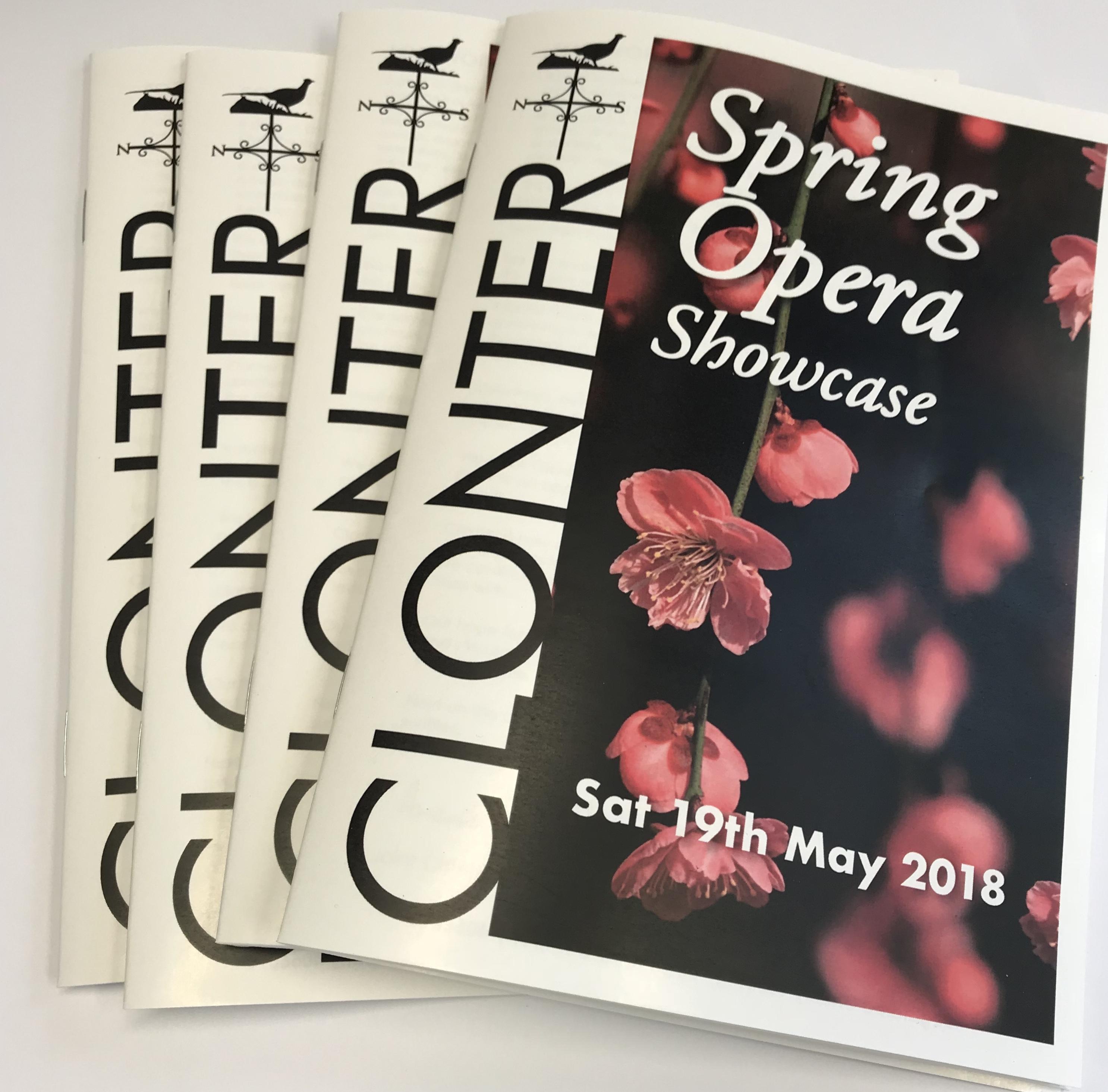 Clonter Spring Opera Showcase Programmes