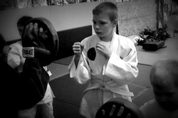 Little Bowman practicing strikes.