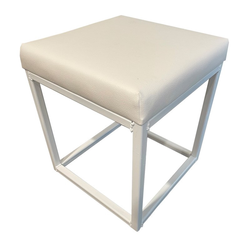 Single White Ottoman $35