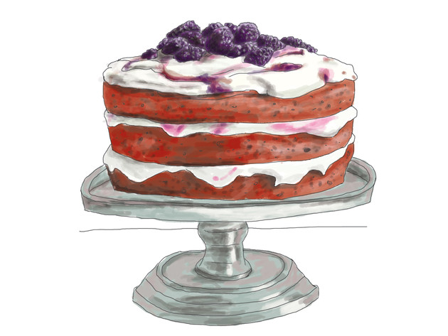 Red Velvet Cake with Blackberry Cream Cheese