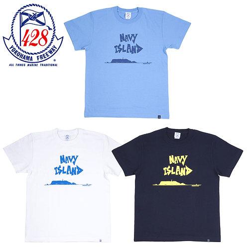 ISLAND柄プリント半袖Tシャツ