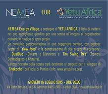 serata Yetu Africa presso Nemea Energy Village